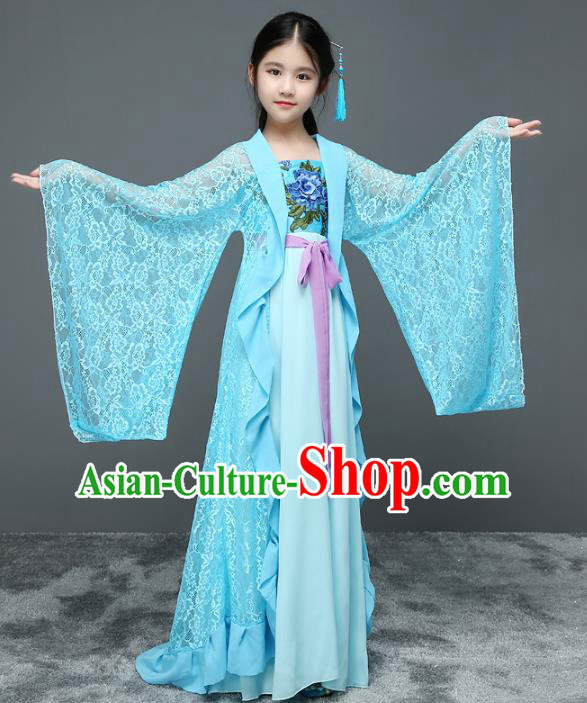 Traditional Chinese Tang Dynasty Palace Princess Costume Ancient Palace Lady Trailing Dress for Kids