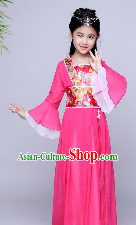 Traditional Chinese Tang Dynasty Seven Fairy Costume Ancient Princess Rosy Dress Clothing for Kids