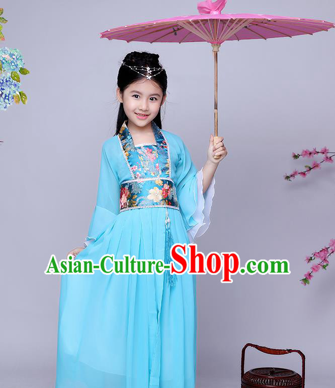 Traditional Chinese Tang Dynasty Seven Fairy Costume Ancient Princess Blue Dress Clothing for Kids