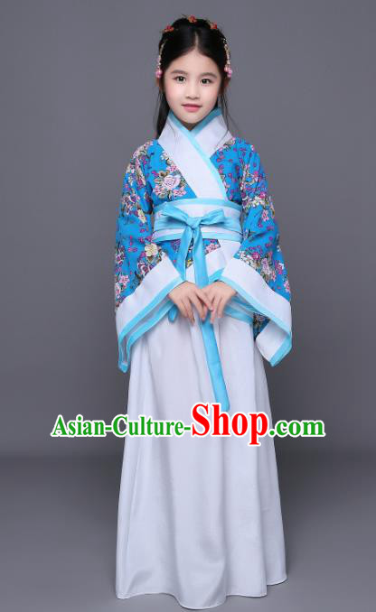 Traditional Chinese Han Dynasty Children Costume Ancient Palace Princess Hanfu Dress Clothing for Kids