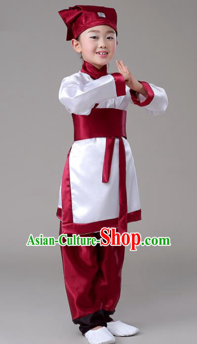 Traditional Chinese Han Dynasty Ancient Scholar Clothing for Kids