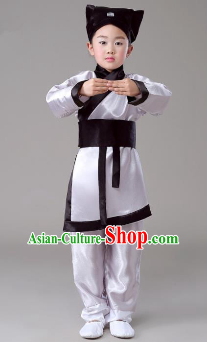Traditional Chinese Han Dynasty Ancient Scholar Hanfu Clothing for Kids