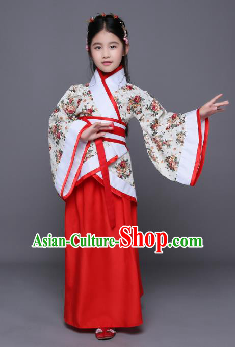 Traditional Chinese Ancient Palace Princess Costume, China Han Dynasty Palace Lady Hanfu Clothing for Kids