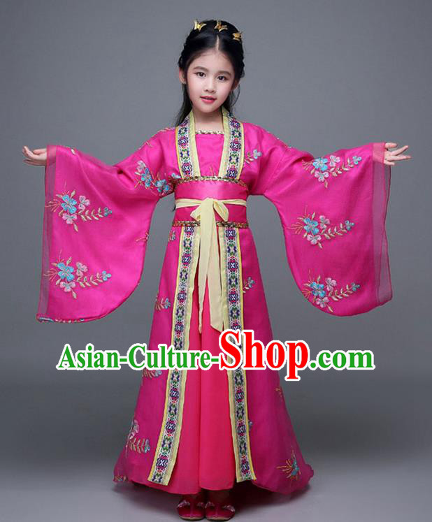 Traditional Chinese Ancient Imperial Consort Rosy Costume, China Tang Dynasty Palace Princess Hanfu Embroidered Clothing for Kids
