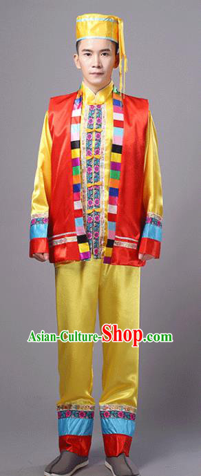 Traditional Chinese Miao Nationality Dance Yellow Costume, Hmong Folk Dance Minority Embroidery Clothing for Men