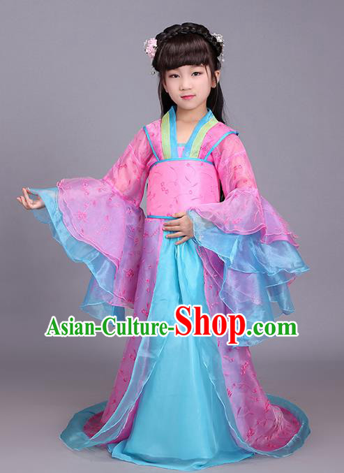Traditional Chinese Ancient Princess Fairy Costume, China Tang Dynasty Imperial Consort Clothing for Kids