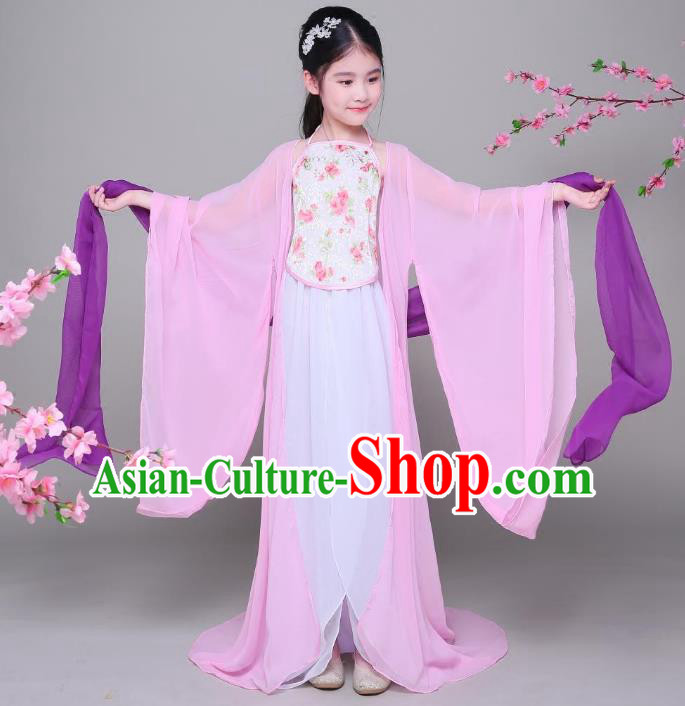 Traditional Chinese Tang Dynasty Princess Fairy Costume, China Ancient Palace Lady Hanfu Dress Clothing for Kids
