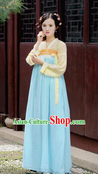 Traditional Chinese Tang Dynasty Young Lady Costume, China Ancient Princess Hanfu Blue Dress Clothing for Women