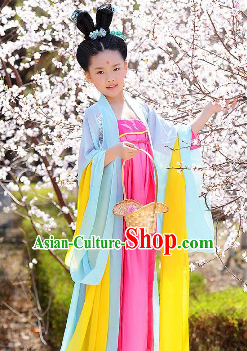 Traditional Chinese Tang Dynasty Royal Princess Costume, China Ancient Palace Lady Hanfu Dress Clothing for Kids