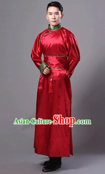 Traditional Chinese Qing Dynasty Minister Costume, China Ancient Manchu Prince Red Robe Clothing for Men