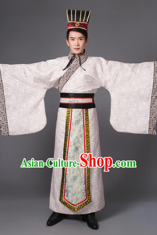 Traditional Chinese Han Dynasty Prime Minister Costume, China Ancient Chancellor Hanfu Embroidered Robe Clothing for Men