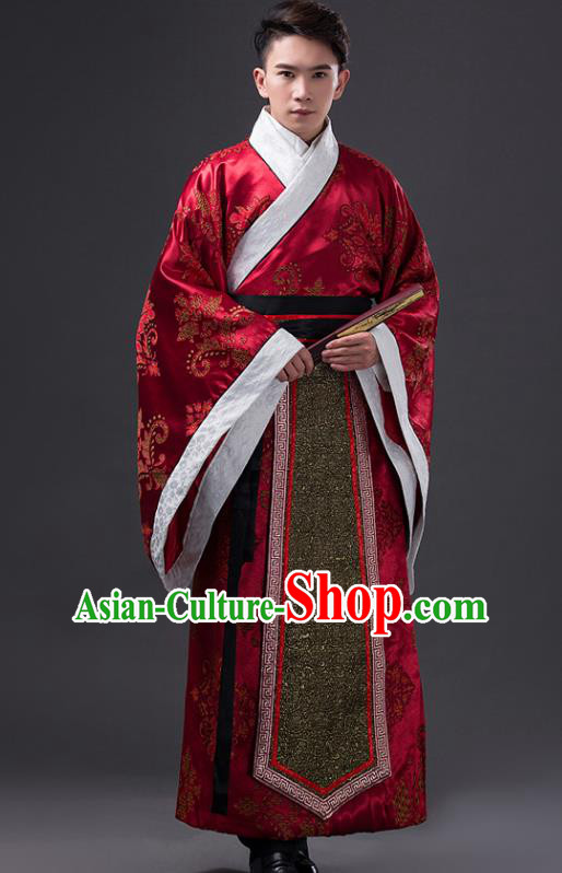 Traditional Chinese Han Dynasty Minister Wedding Costume, China Ancient Chancellor Hanfu Red Embroidered Robe Clothing for Men