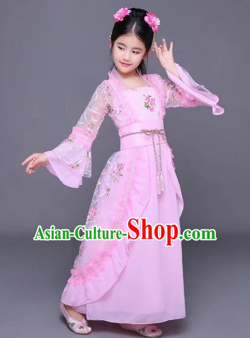 Traditional Ancient Chinese Tang Dynasty Empress Costume, China Ancient Imperial Consort Embroidered Trailing Clothing for Kids