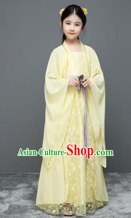 Traditional Chinese Ancient Palace Fairy Costume, China Tang Dynasty Imperial Princess Yellow Dress Clothing for Kids