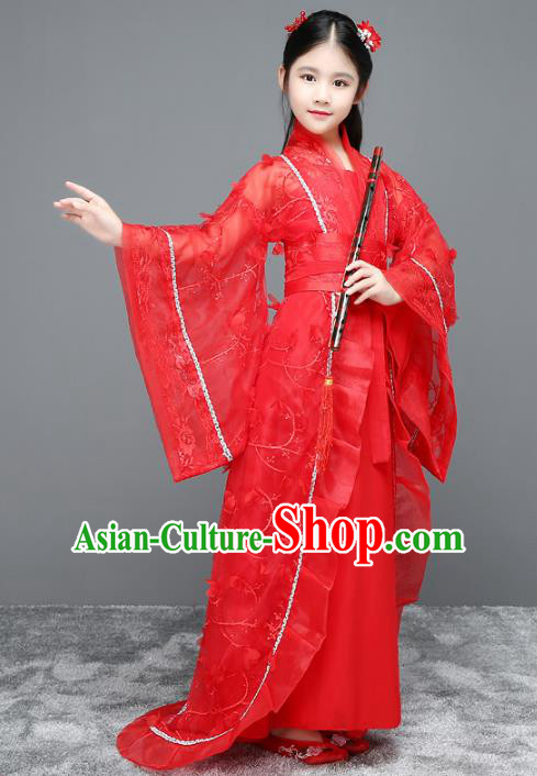 Traditional Chinese Ancient Palace Fairy Costume, China Tang Dynasty Imperial Princess Red Trailing Dress Clothing for Kids
