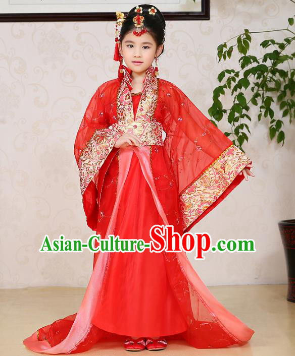Traditional Chinese Tang Dynasty Palace Lady Costume, China Ancient Imperial Consort Hanfu Red Dress Clothing for Kids