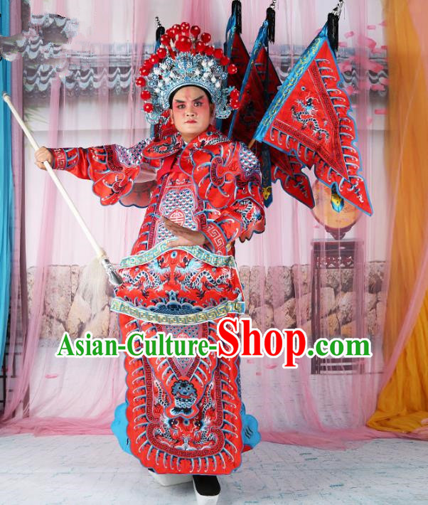 Chinese Beijing Opera General Costume Red Embroidered Armour, China Peking Opera Military Officer Embroidery Gwanbok Clothing