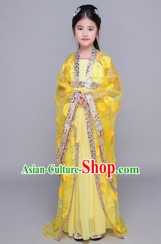 Traditional Chinese Tang Dynasty Fairy Palace Lady Costume, China Ancient Princess Hanfu Yellow Dress Clothing for Kids