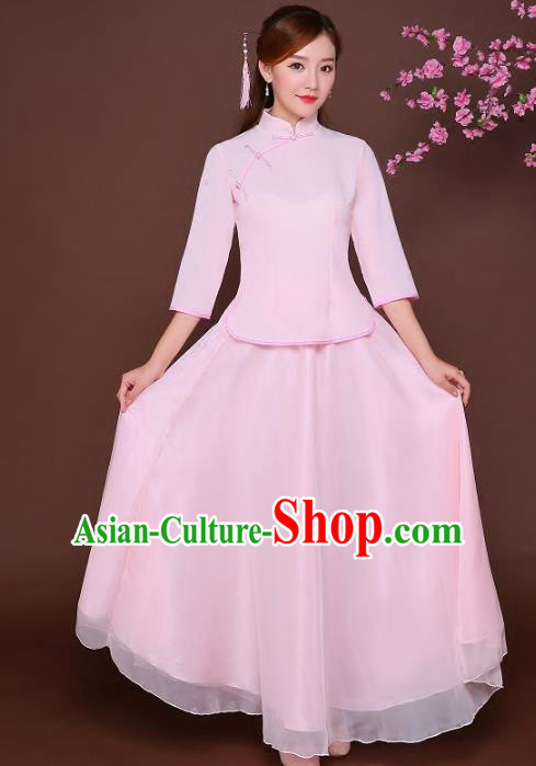 Traditional Chinese Republic of China Nobility Lady Clothing, China National Embroidered Pink Qipao Blouse and Skirt for Women