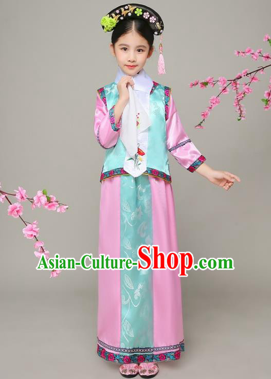 Traditional Chinese Qing Dynasty Court Princess Green Costume, China Manchu Palace Lady Embroidered Clothing for Kids