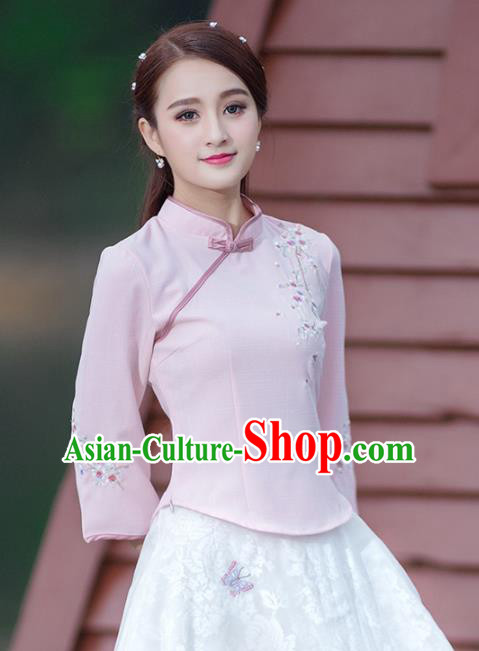 Traditional Chinese National Costume Hanfu Embroidery Pink Blouse and Skirt, China Tang Suit Cheongsam Clothing for Women