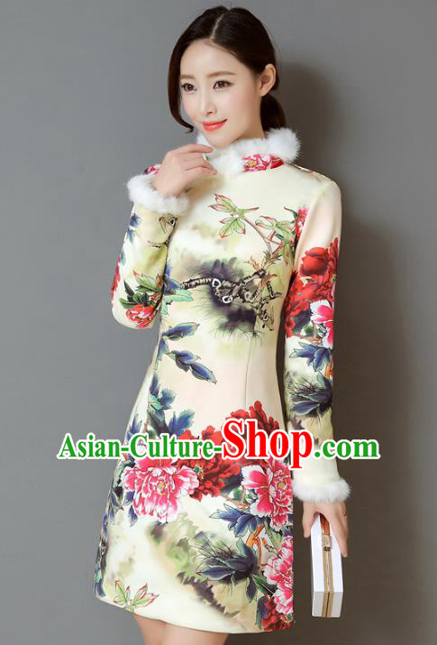 Traditional Chinese National Costume Hanfu Printing Peony Qipao, China Tang Suit Cheongsam Dress for Women