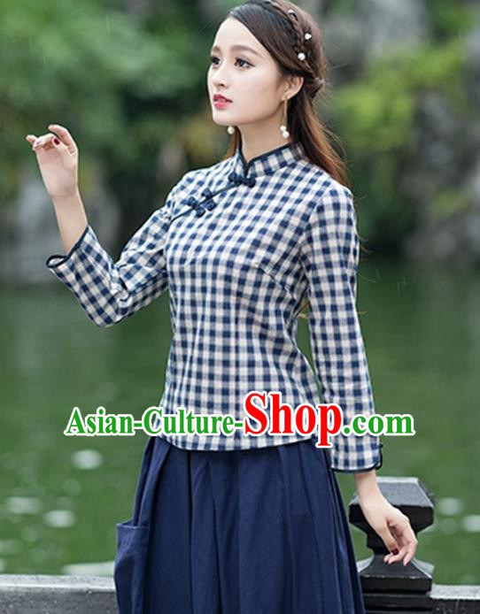 Traditional Chinese National Costume Hanfu Plated Buttons Navy Blouse, China Tang Suit Cheongsam Upper Outer Garment Shirt for Women