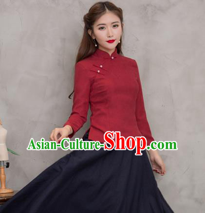 Traditional Chinese National Costume Hanfu Plated Buttons Wine Red Blouse, China Tang Suit Cheongsam Upper Outer Garment Shirt for Women