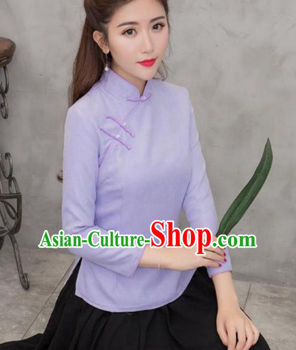 Traditional Chinese National Costume Hanfu Plated Buttons Purple Blouse, China Tang Suit Cheongsam Upper Outer Garment Shirt for Women