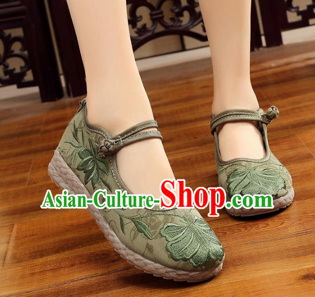 Asian Chinese Green Cloth Embroidered Shoes, Traditional China Princess Shoes Hanfu Embroidery Shoes for Women