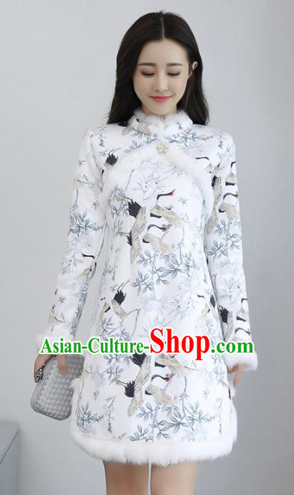 Traditional Chinese National Costume Hanfu Printing Cranes Qipao, China Tang Suit Cheongsam Dress for Women