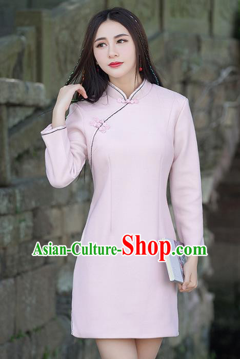 Traditional Chinese National Costume Hanfu Plated Buttons Pink Qipao, China Tang Suit Cheongsam Dress for Women