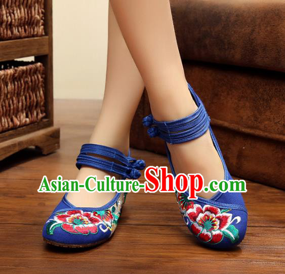 Asian Chinese National Blue Embroidered Peony Shoes, Traditional China Princess Shoes Hanfu Embroidery Shoes for Women