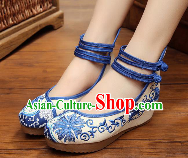 Asian Chinese National Embroidered Shoes, Traditional China Princess Shoes Hanfu Embroidery Shoes for Women