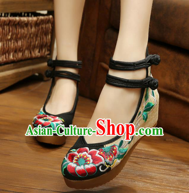 Traditional Chinese National Black Linen Embroidered Peony Shoes, China Princess Shoes Hanfu Embroidery Shoes for Women