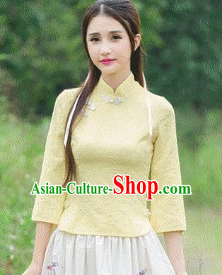 Traditional Chinese National Costume Hanfu Plated Buttons Yellow Blouse, China Tang Suit Cheongsam Upper Outer Garment Shirt for Women