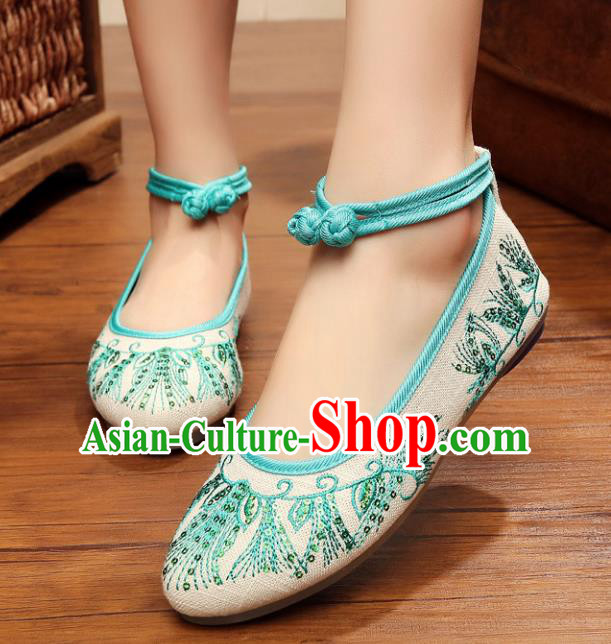 Traditional Chinese National Hanfu White Embroidered Shoes, China Princess Embroidery Shoes for Women