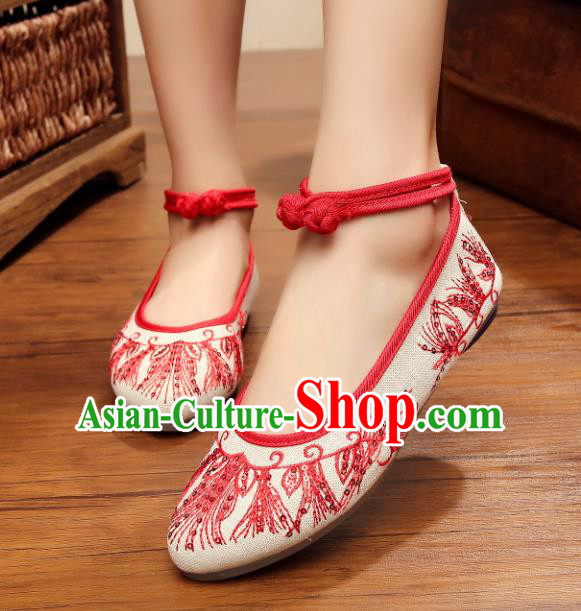 Traditional Chinese National Hanfu Red Embroidered Shoes, China Princess Embroidery Shoes for Women