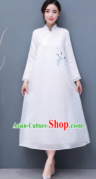 Traditional Chinese National Costume Hanfu Embroidered Crane Qipao Dress, China Tang Suit Cheongsam for Women