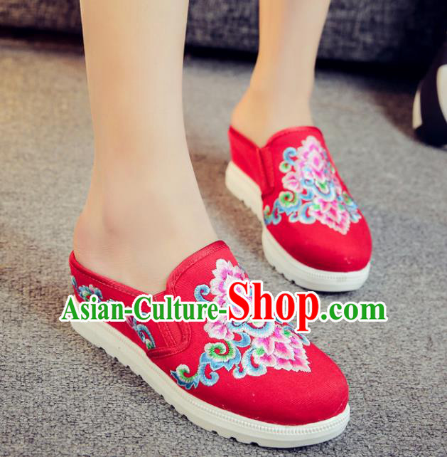 Traditional Chinese National Hanfu Red Embroidered Slippers, China Princess Embroidery Shoes for Women