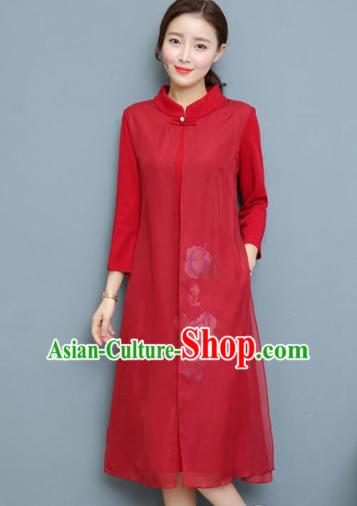 Traditional Chinese National Costume Hanfu Red Qipao Dress, China Tang Suit Cheongsam for Women
