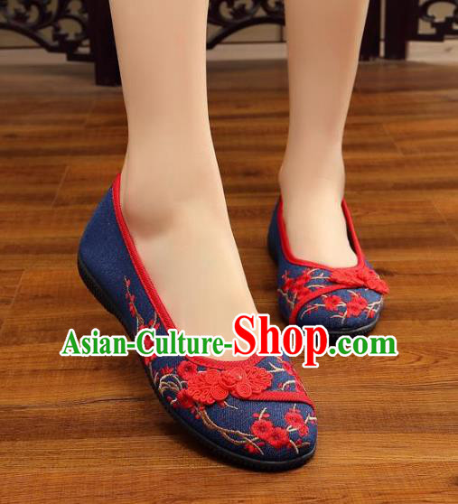 Traditional Chinese National Hanfu Wedding Navy Embroidered Shoes, China Princess Embroidery Wintersweet Shoes for Women