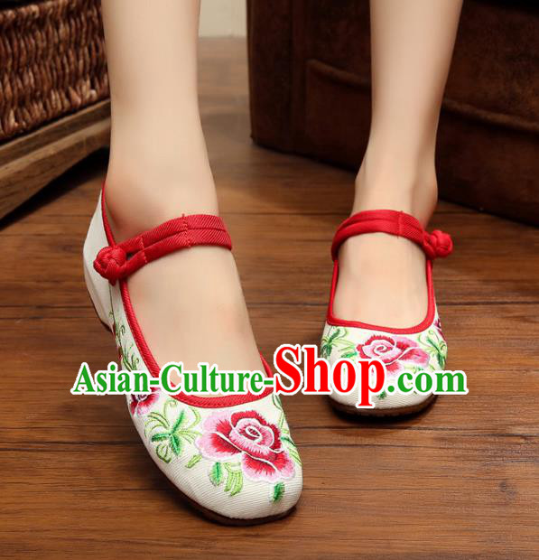 Traditional Chinese National Hanfu Shoes Embroidered Peony Shoes, China Princess Shoes Embroidery Shoes for Women