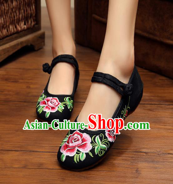 Traditional Chinese National Hanfu Shoes Black Embroidered Peony Shoes, China Princess Shoes Embroidery Shoes for Women