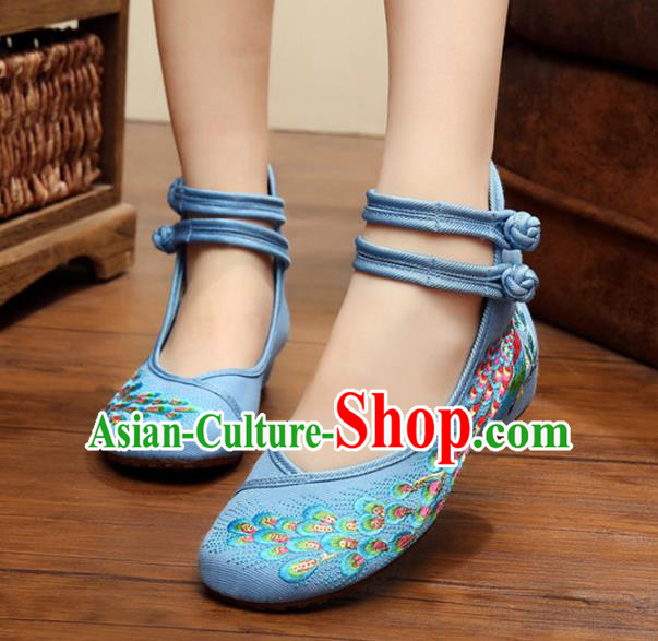 Traditional Chinese National Hanfu Thin Shoes Blue Embroidered Shoes, China Princess Embroidery Peacock Shoes for Women