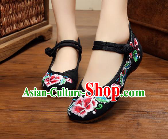 Traditional Chinese National Black Canvas Shoes Embroidered Peony Shoes, China Princess Embroidery Shoes for Women