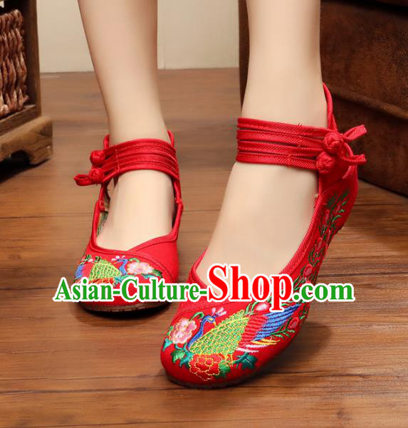 Traditional Chinese National Red Embroidered Shoes, China Princess Embroidery Phoenix Peony Shoes for Women