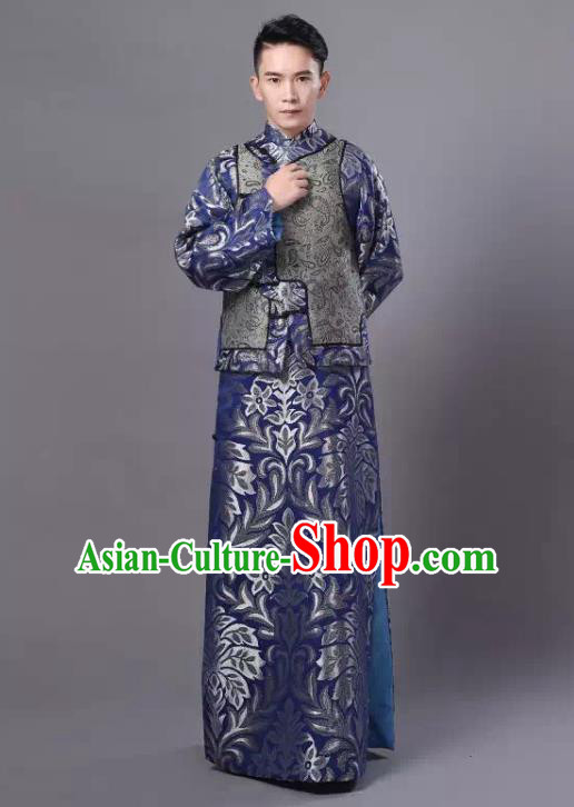 Traditional Chinese Qing Dynasty Royal Highness Costume, China Ancient Manchu Embroidered Robe and Mandarin Jacket for Men