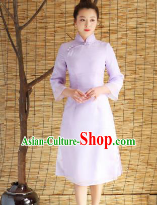 Traditional Chinese National Costume Hanfu Purple Stand Collar Qipao Dress, China Tang Suit Cheongsam for Women
