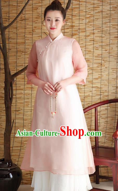 Traditional Chinese National Costume Hanfu Slant Opening Pink Qipao Dress, China Tang Suit Cheongsam for Women